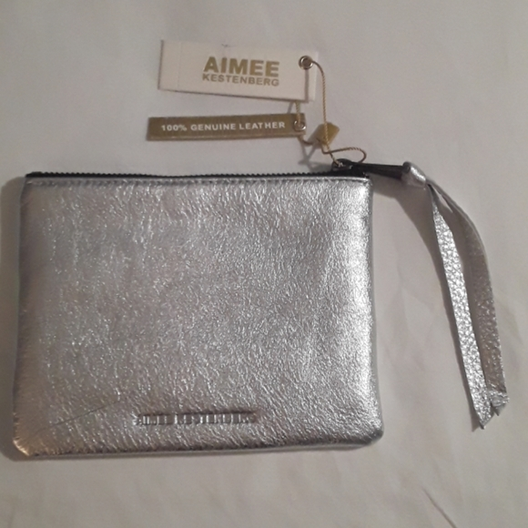 Aimee Kestenberg Handbags - Aimee Kestenburg Silver Metallic Leather Pouch